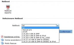 Pagina di gestione del netboot nel manager v3 di OVH