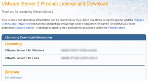 Sito VMWare - Download e chiave licenza