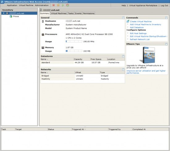 VMware Server 2.0 - Interfaccia webAccess