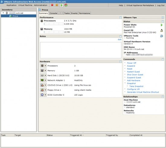 VMware Server 2.0 - webAccess - Interfaccia macchina virtuale